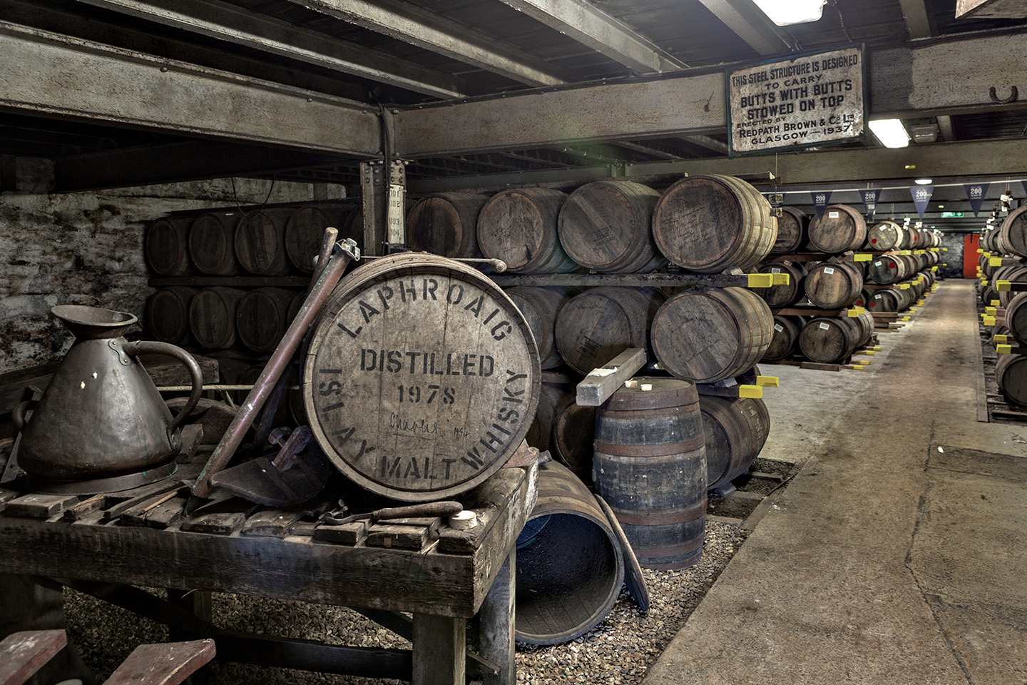 Laphroaig Whisky Casks Stored in Warehouse