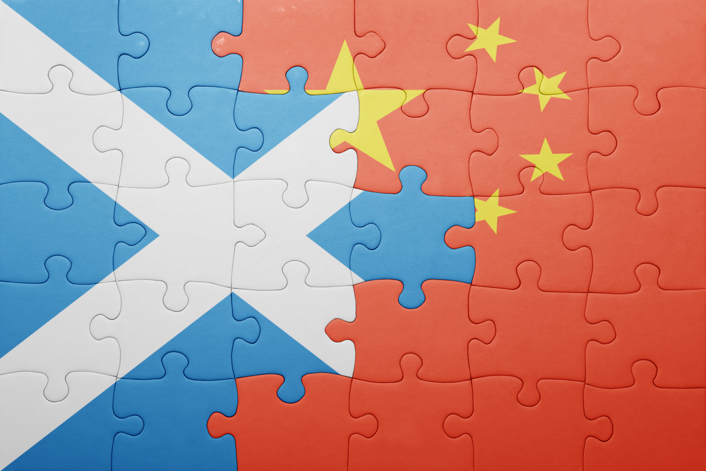 The flags of Scotland and China merging.